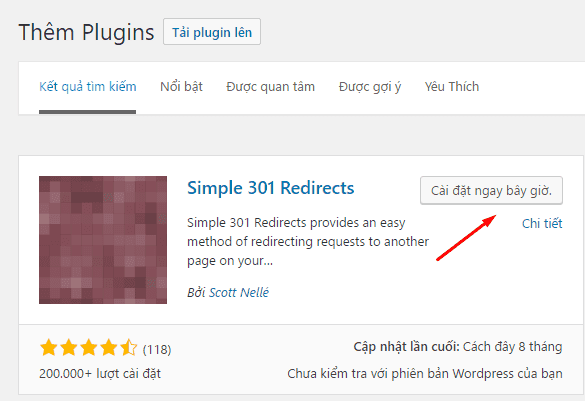 Cài đặt plugin Simple 301 Redirects