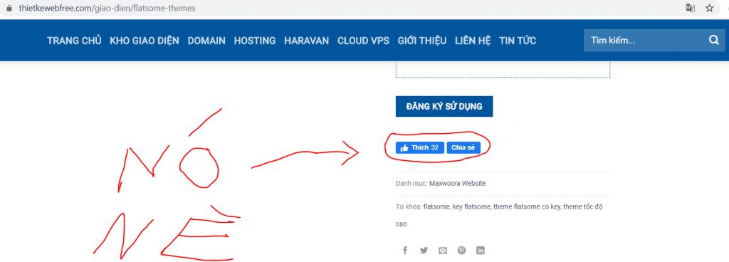 Chèn nút like share facebook không dùng plugin