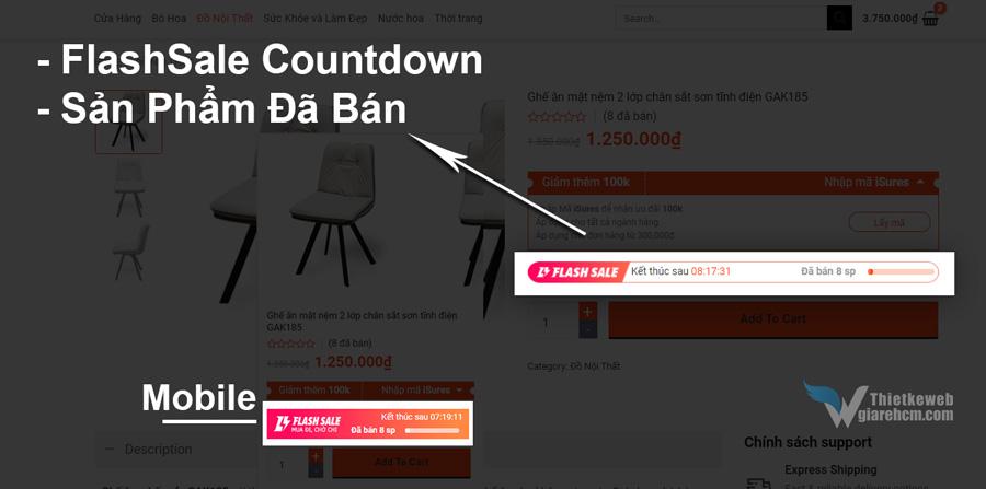 Share Code Flash Sale Countdown và Sản phẩm đã bán